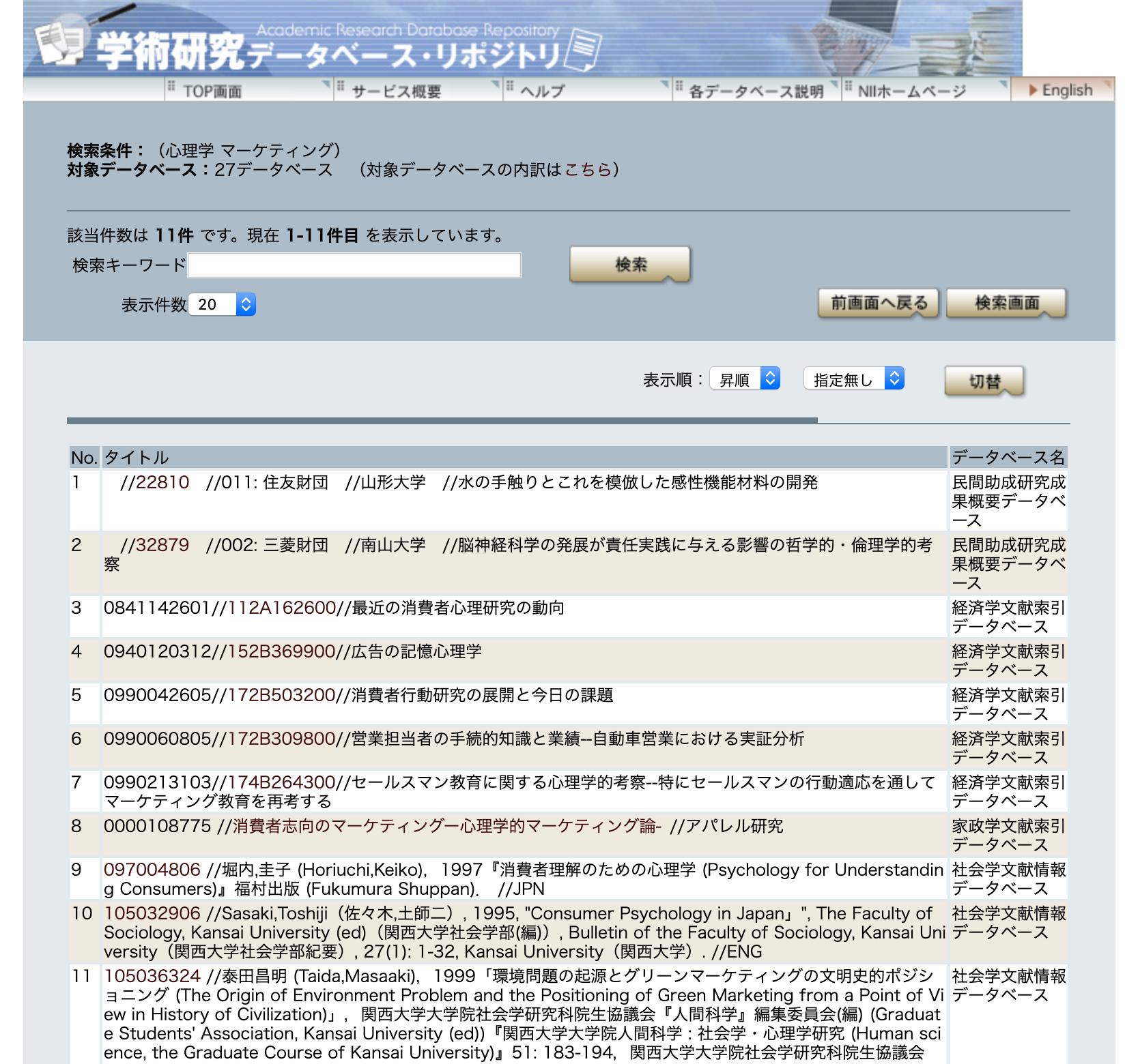 学術研究データベースレポジトリの検索結果